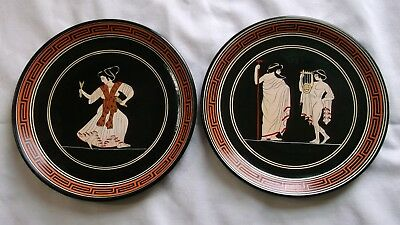 Vintage Greek Decor Plates, Orpheus, Menas, Mythology, 1 Lot of 2 Plates, Greece