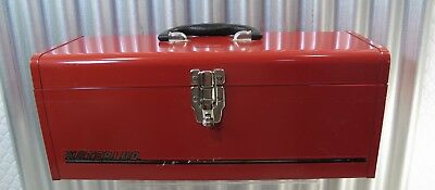 Mint Cond. Vintage Checker Auto Waterloo Red Racing Tool Box 19 X 8 X 8   94