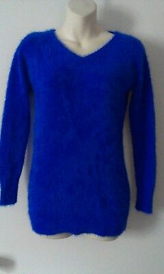 Electric Blue Angora Fluffy Fuzzy Bombshell Sweater Sz S