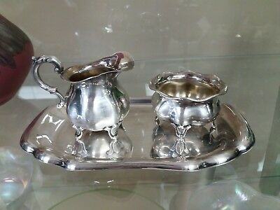 Wilkens and Sohnes Creamer Sugar and Tray 835 Silver