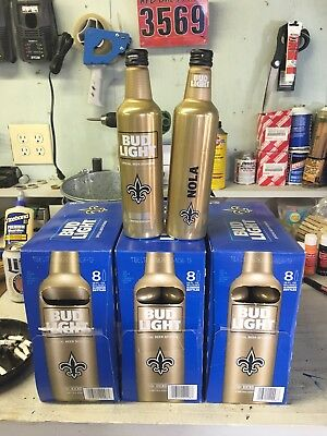 Bud Light 2017 New Orleans Saints aluminum beer bottle 24 total with boxes