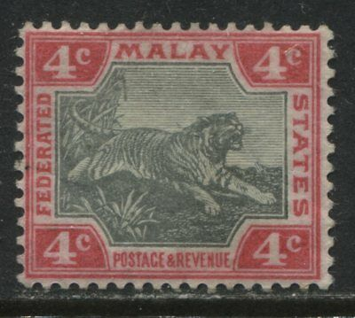 Federated Malay States 1901 Tiger 4 cents rose & black mint o.g.