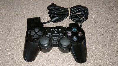 Official Sony Brand Black Dual Shock Controller Playstation 2 Ps2 Vg/nm Cond