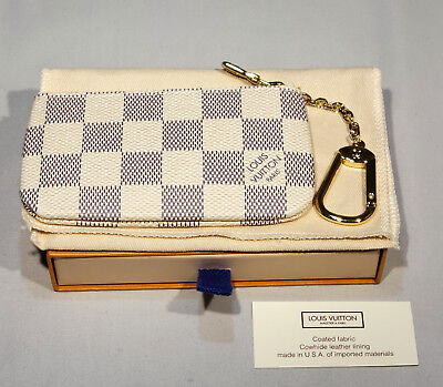 41c3fabe785 New Authentic Louis Vuitton Damier Azur Key Pouch Cles N62659 with Gift Box