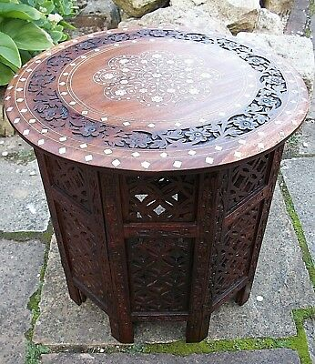 Antique Octagonal Anglo/indian  Folding  Inlaid Wooden Side Table