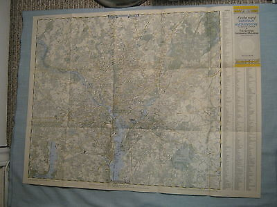 VINTAGE POCKET MAP OF CENTRAL+ SUBURBAN WASHINGTON D.C. National Geographic 1948