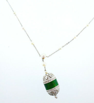 Art Deco Revival Diamond Jade Pendant on Pearl and 18k White Gold Chain Necklace