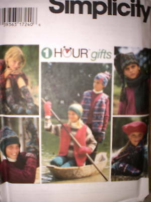 9781 UNCUT Simplicity Sewing Pattern Childs Scarf Hat Socks