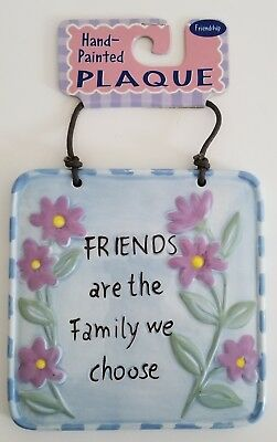 """""""Friends Are the Family We Choose"""" Blue Ceramic Hanging Sign - 5"""" Square"""