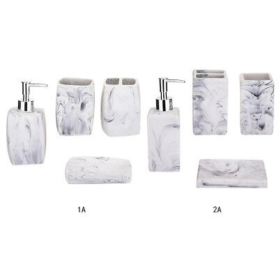 Faux Marble Bathroom Accessories Set Toothbrush Holder Soap Lotion Tumbler Cup