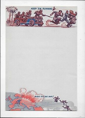 WWII LETTERHEAD STATIONARY Army Graphic Keep 'Em Running Axis Leaders