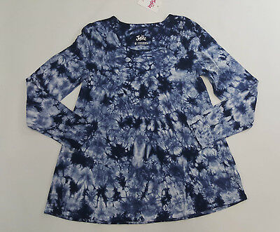 NWT Justice Kids Girls Size 8 10 or 12 Navy Blue Tie Dye Swing Top Shirt