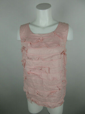 7cdaab651459bf Talbots Women s sz 8 Cotton Scoop Neck Sleeveless Ruffled Layered Pink Tank  Top