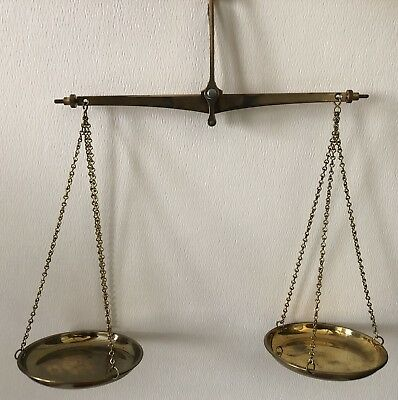 Vintage West Germany Brass Hanging Gold 2 Pan Scale Pennyweight Troy Weight Set