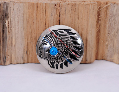 4Pc 30Mm Southwest Indian Head Turquoise Sliver Screw Back Leathercraft Conchos