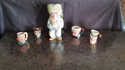 Toby Character Character Pitcher and 4 small Character Mugs -lot of 5