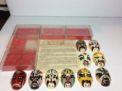 10 Chinese Opera Masks Hand Signed Painted Facial Tapes Yenking Art Handicraft