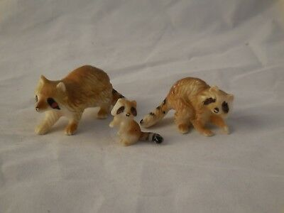 3 Vintage Hard Plastic Raccoons made in Hong Kong