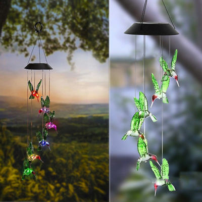 Color Changing LED Hummingbird Solar Wind Chimes Yard Home Garden Decor