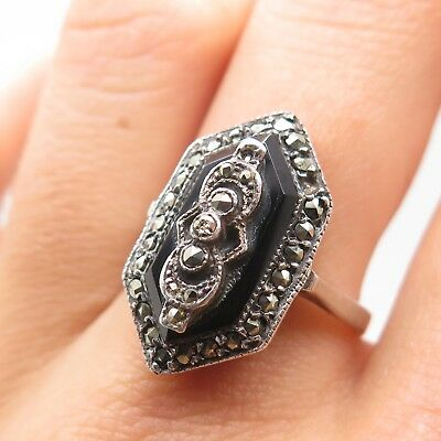 Vtg Signed 925 Sterling Silver Real Black Onyx & Marcasite Ring Size 6 3/4