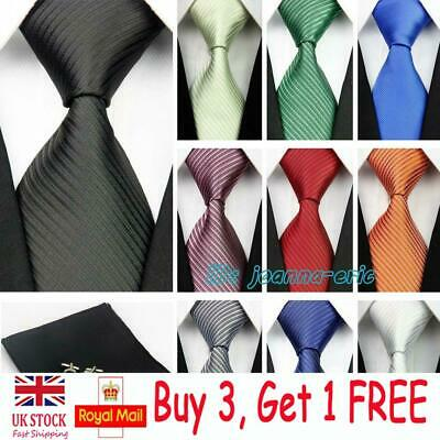 "4"" Grooms 100% Silk Wedding Ties Mens Cufflinks Handkerchief Neckties Tie Men"