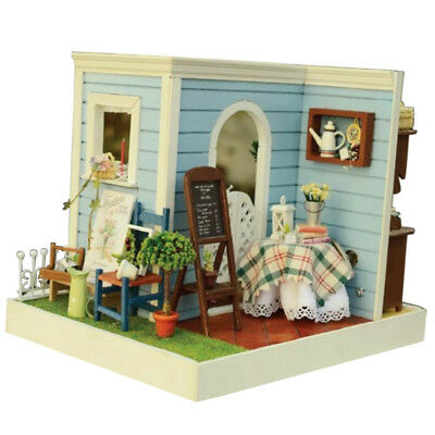 DIY Wooden Dollhouse Miniature Kit w/ Furniture,LED Light Mary's House Gifts