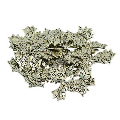 100x Ancient Silver Owl Charms Pendant Bead DIY Crafts Gift Jewelry Findings
