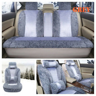 Luxury Front+Back Plush Car Seat Cushion Grey Protector Cover Auto Accessories
