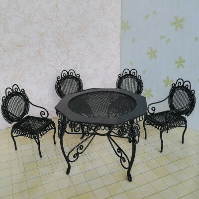 1/12 Doll House Miniature Furniture Black Octagonal Table Chairs Model Set
