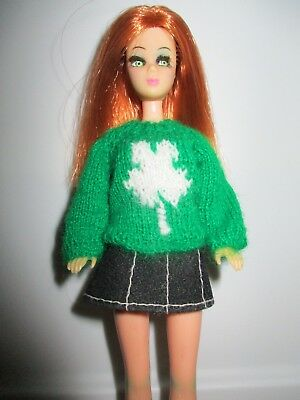 Adorable Hand Knit Sweater For Topper Dawn Doll in Green with Shamrock