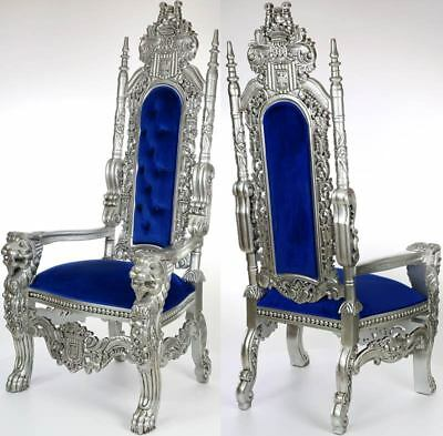 ROYAL-SALON KINGCHAIR SILVER-BLUE ca.180cm großer LÖWENSESSEL LION CHAIR de LUXE