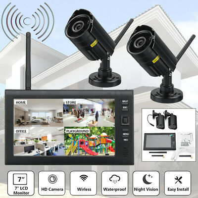 Digital Wireless 4CH Outdoor Home Security 7'' LCD Monitor CCTV Camera System AU