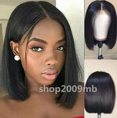 "12"" Short Wigs Brazilian Lace Front Hair Wig PrePlucked+Baby Hair Bleached Knots"