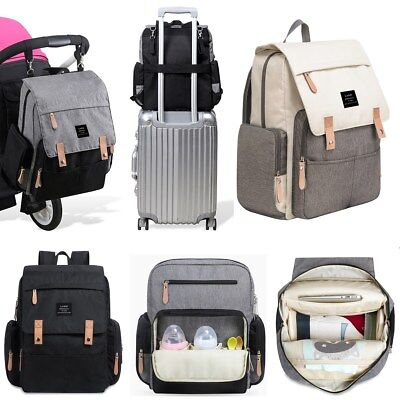 LAND Large Mummy Bag Baby Diaper Nappy Changing Backpack + Insulated Pockets