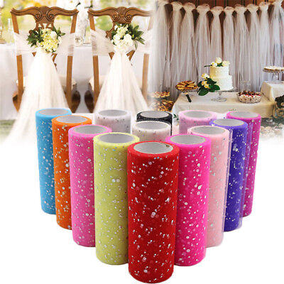 "6""x25 Yards Glitter Sequin Tutu Tulle Roll Spool Wedding Gift Craft Party Decor"