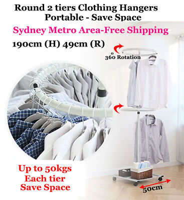 2 Tiers Round Rotation Clothes Hanger 190cm(H)x 49cm(R) Stainless Shop Display