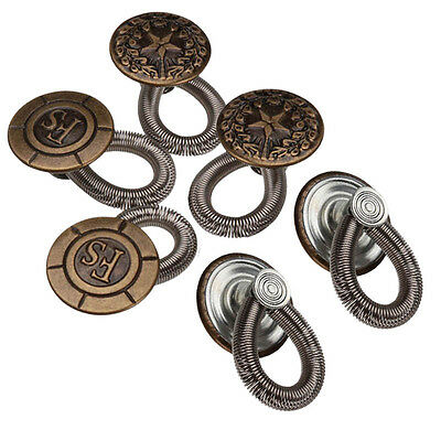 6PCS No Sew Elastic Spring Metal Button Pant Extenders Jeans Extenders Buttons