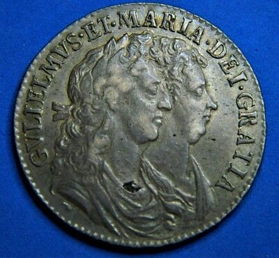 William And Mary 1689 Halfcrown, High Grade