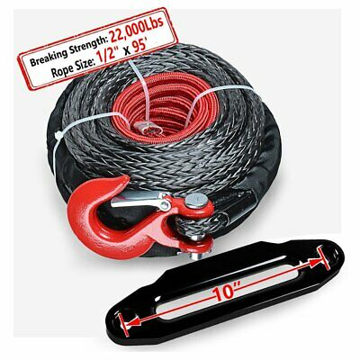 """1/2"""" 92' Synthetic Winch Rope 22000 Lbs Line Cable + Hook + 10"""" Hawse Fairlead"""