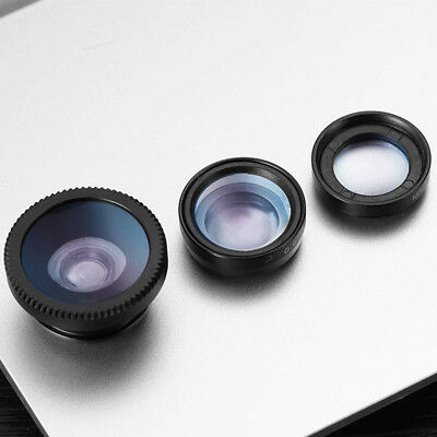 3 In 1 Fish Eye Wide Angle Macro Camera Lens Kit Set For Cell Mobile Phone