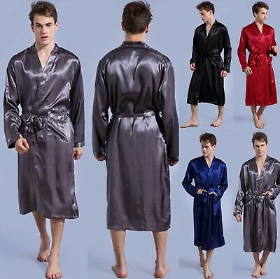 Mens Satin Silk Pajamas Kimono Bathrobe Robe Dressing Summer Gown Pjs Loungewear