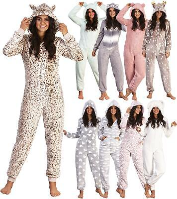 Womens Teen Luxury Soft Coral Fleece Animal 3D Hood All in One Pyjamas 1Onesie