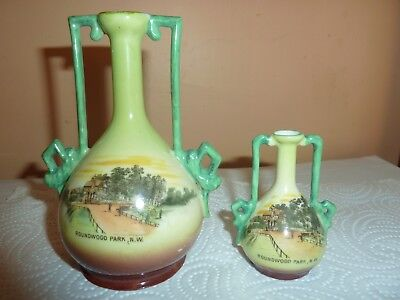 Gemma China Little  & Large  Vase With Round Wood Park,willesden Pictorial Image