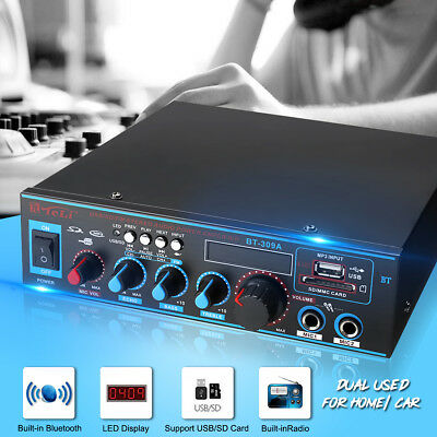12V/220V 800W Bluetooth Stereo Audio Amplifier Home Car HiFi Music SD USB FM AMP