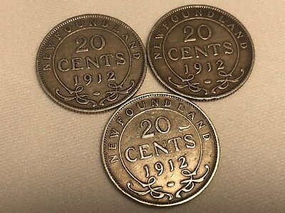 Lot Of 3 1912 New Foundland 20 Cents Free Shipping