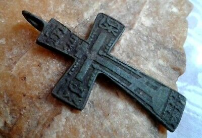 "RARE 17-19th CENTURY LARGER ORTHODOX ""FOOTED"" CROSS PSALM 68 ""IRON CROSS""-STYLE"