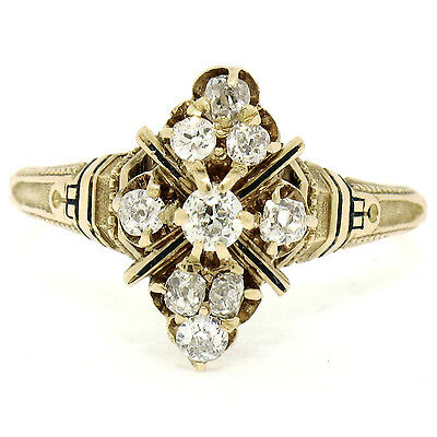 Antique Victorian 14k Yellow Gold 0.60ctw 9 Old Mine Cut Diamond Cluster Ring