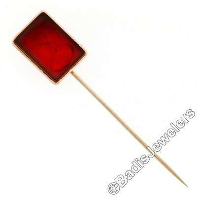 Rare Antique Victorian 14k Pink Gold Large Carved Carnelian Intaglio Stick Pin