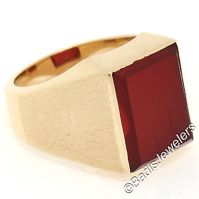 Russian Vintage Mens 14K Rose Gold Heavy Rectangular Carnelian Stone Finish Ring