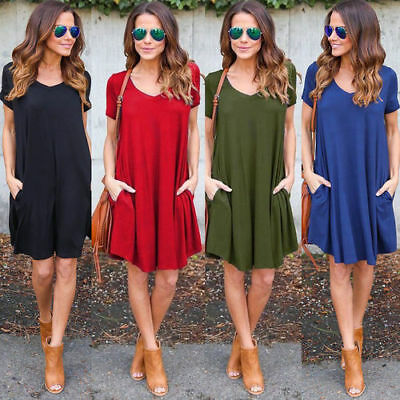 Women Summer Casual Short Sleeve Shift Dress Ladies Beach Loose Dress Plus Size